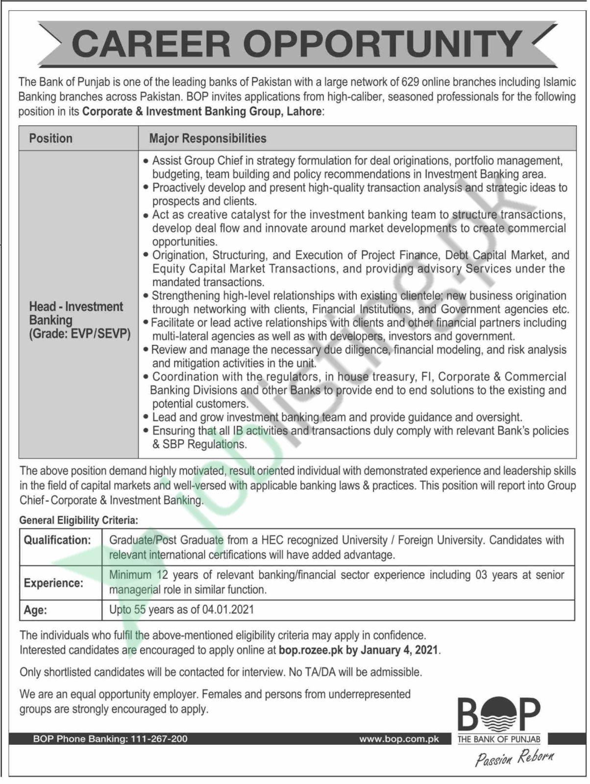 Latest Jobs 2021 Bank of Punjab (BOP) Head - Investment Banking