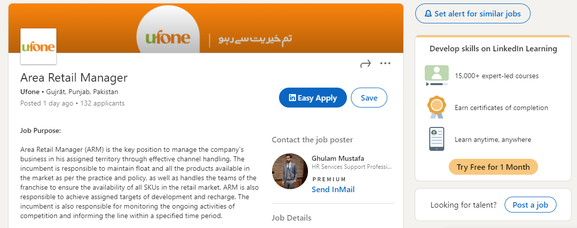 Area Retail Manager Jobs December 2020 Ufone