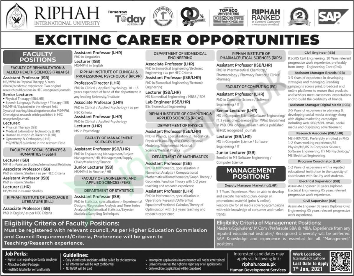 Riphah International University Jobs