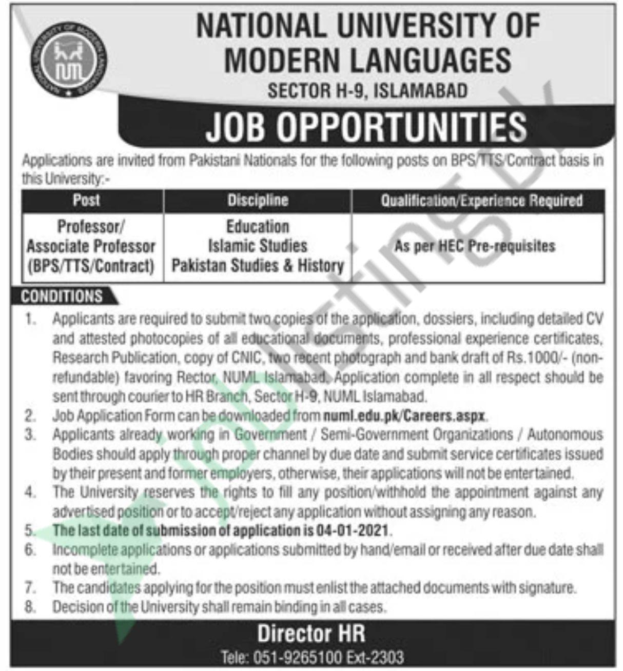 Latest Jobs in NUML Islamabad 2020 for Faulty Staff