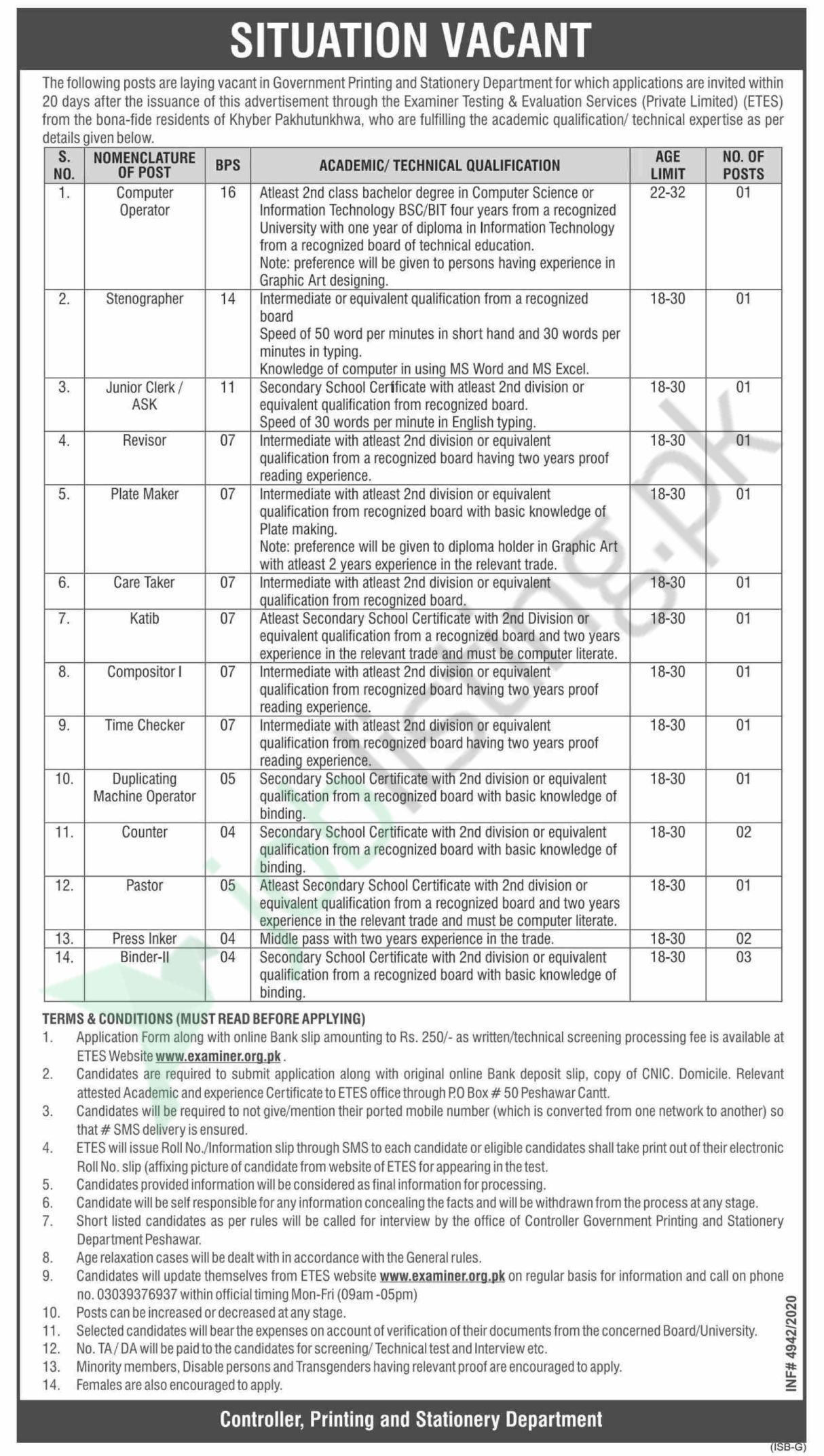 Government Printing and Stationery Department Jobs 2021