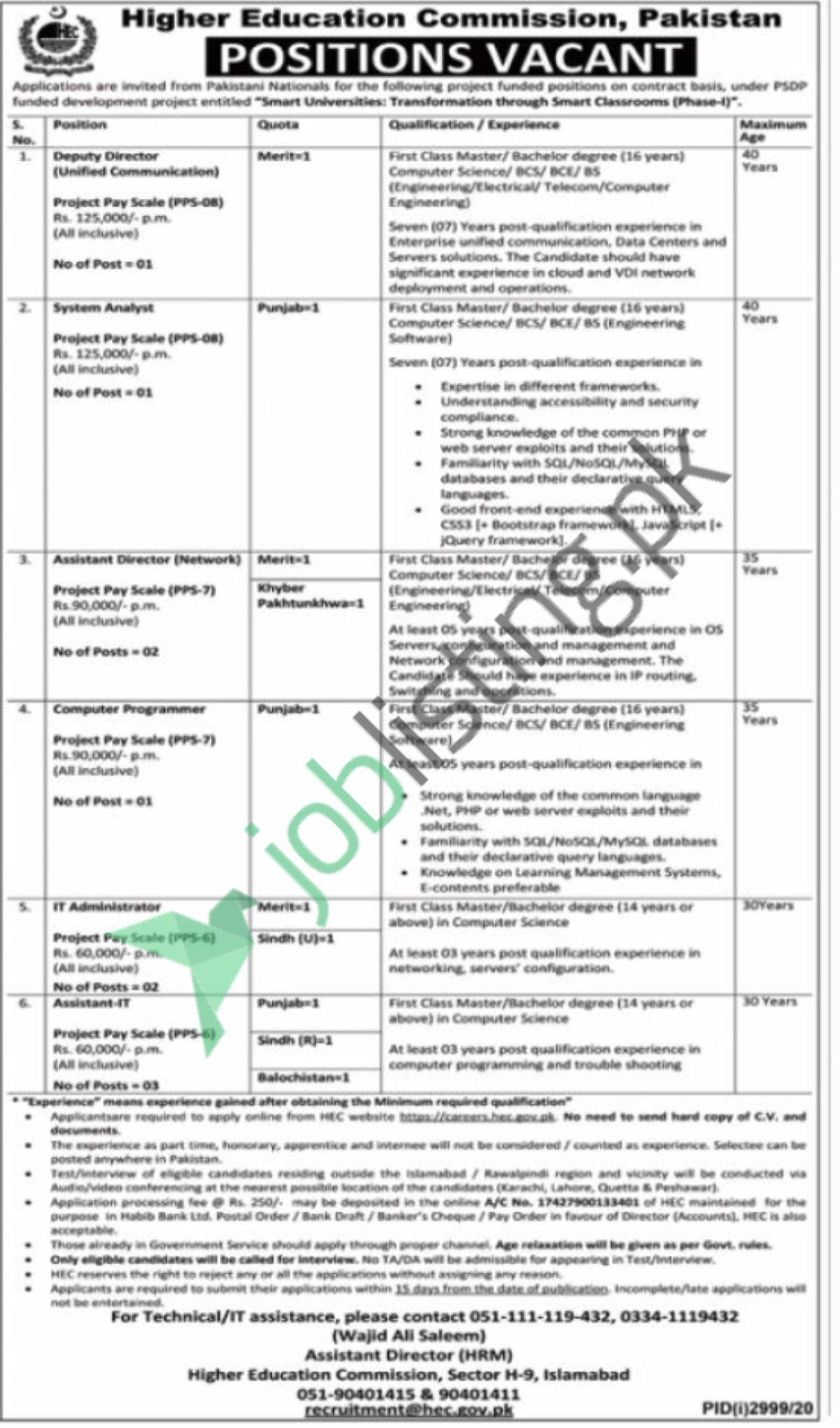 Latest HEC Jobs 2020 Advertisement for IT Administrator
