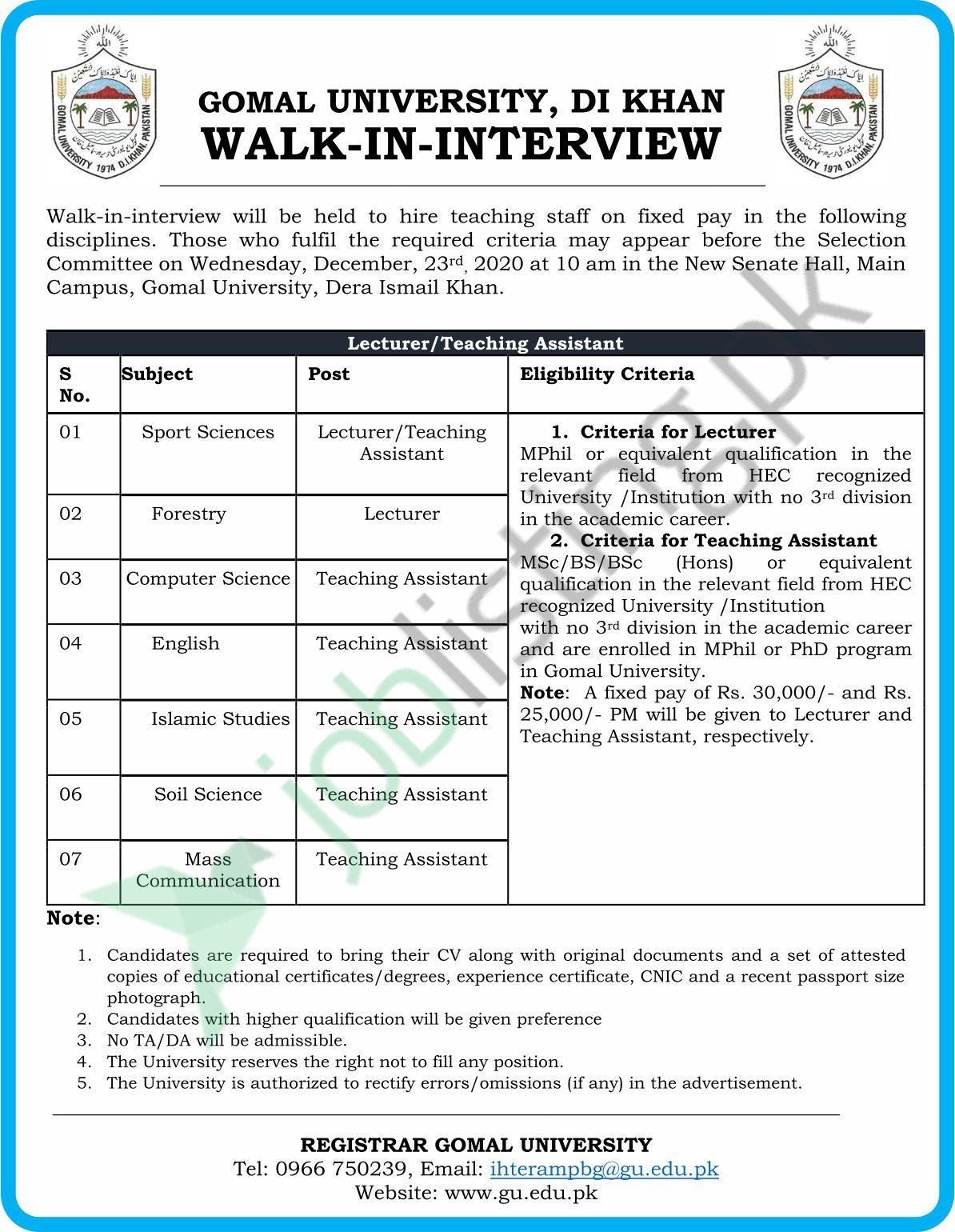 Gomal University, D.I.Khan Walk-In-Interview