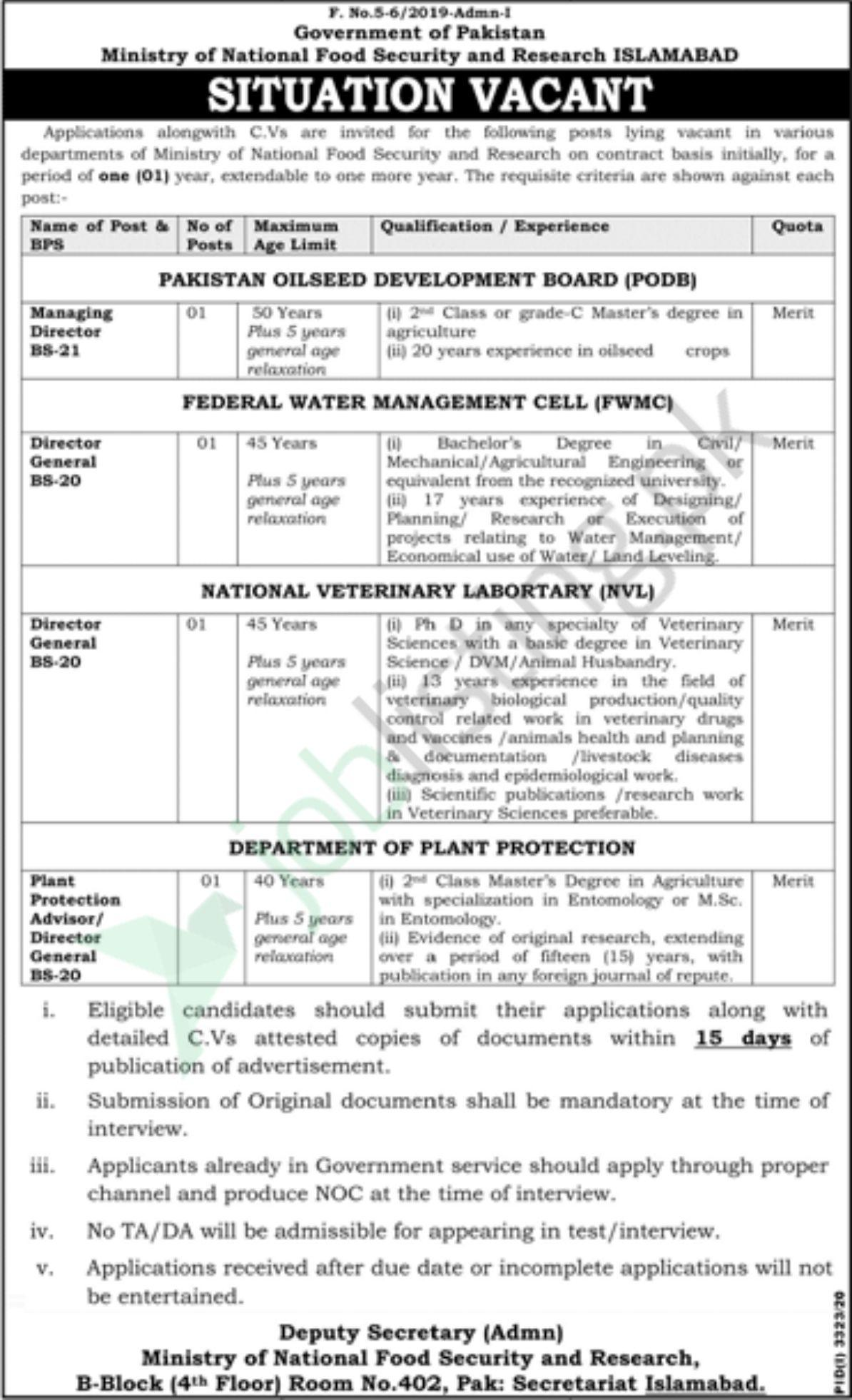 National Food Security and Research Jobs 2021