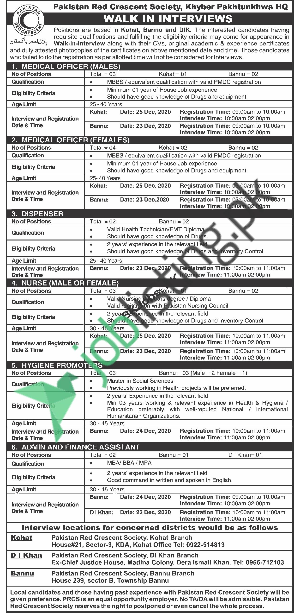 Pakistan Red Crescent Society, Khyber Pakhtunkhwa walk-in-interview