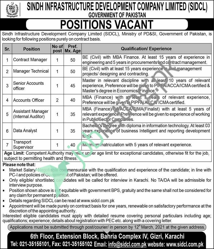Cabinet Division SIDCL Jobs 2021 Sindh Infrastructure Development Company