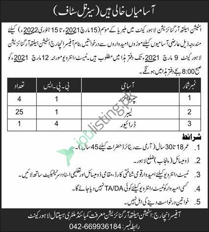 Station Health Organization Jobs 2021 in Lahore Cantt For Labours