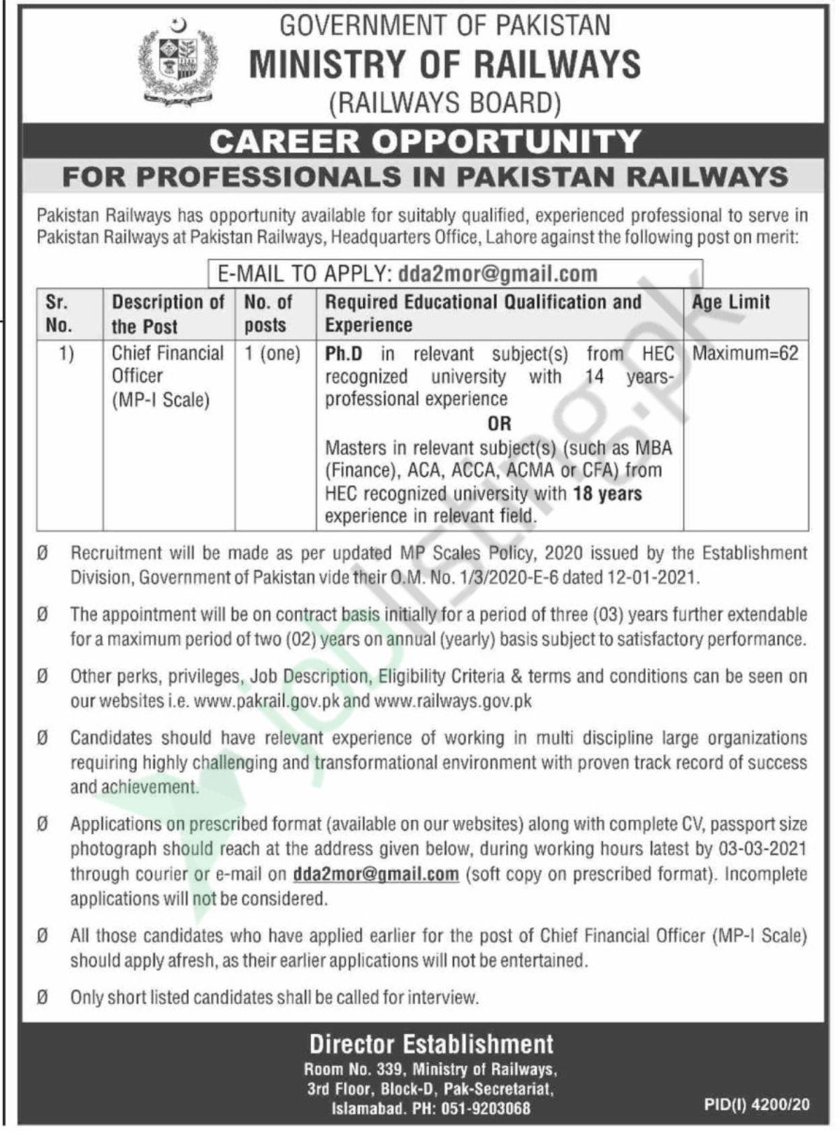 Chief Financial Officer job in Ministry of Railways 2021 Govt of Pakistan