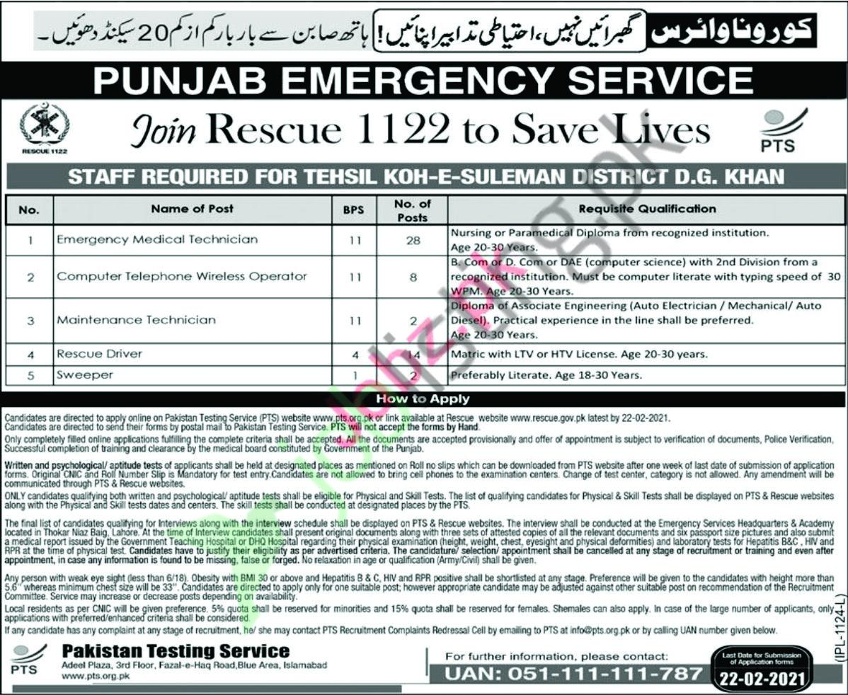 Rescue 1122 Jobs 2021 Punjab Emergency Service