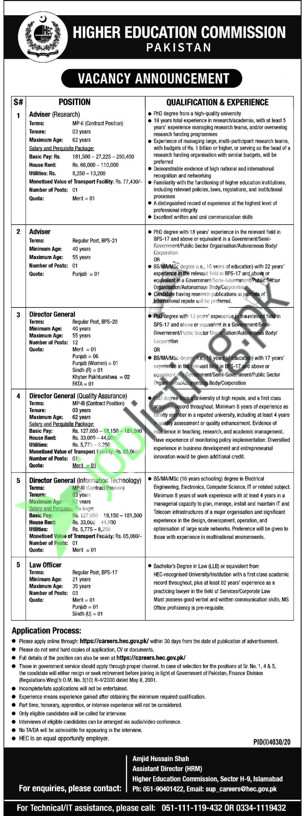 Director General Jobs in Higher Education Commission Islamabad