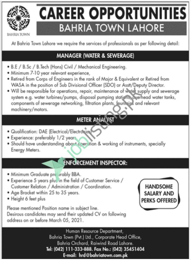 Bahria Town Lahore Jobs 2021 Current Employment Opportunities Advertisement