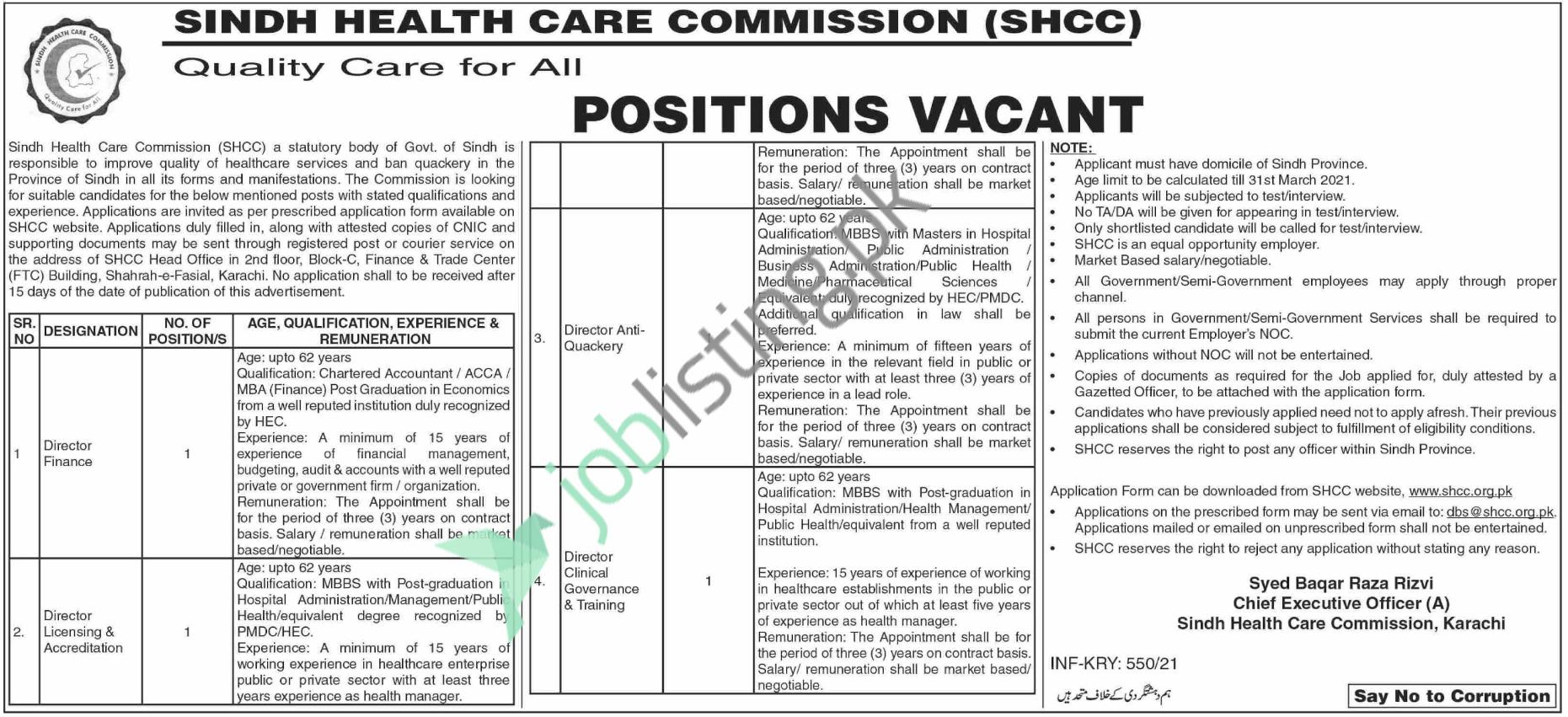 Sindh Healthcare Commission Jobs 2021 for Director Finance