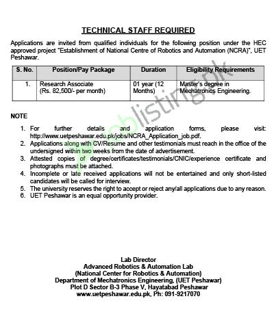 Research Associate jobs in University of Engineering and Technology