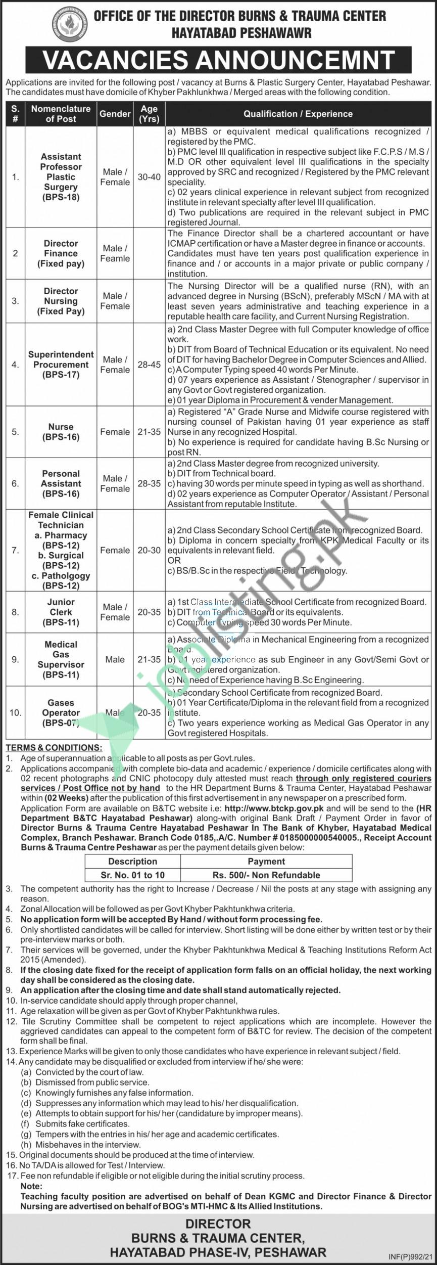 Director Burns & Trauma Center Hayatabad Peshawar Jobs 2021