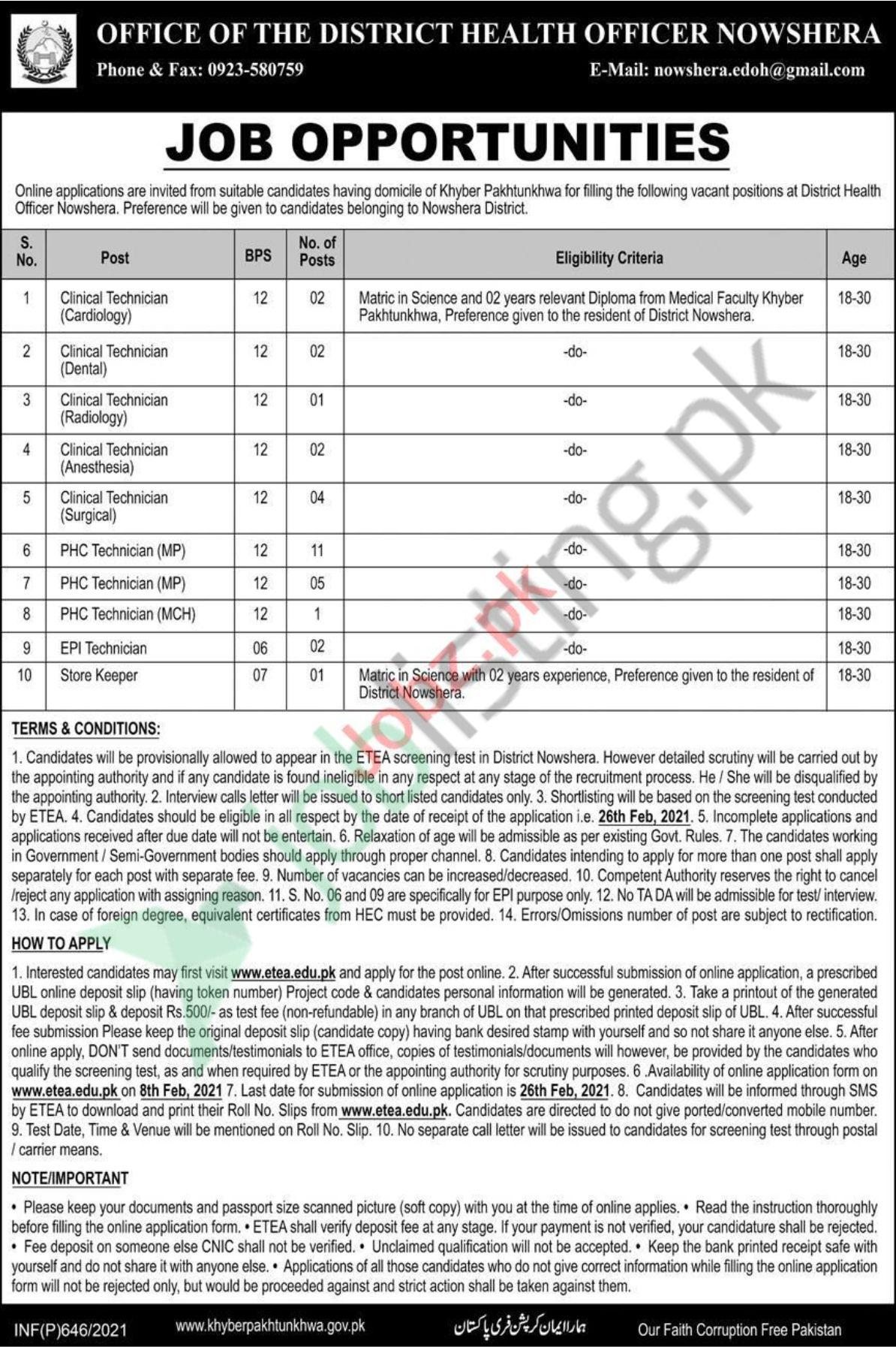 District Health Officer Nowshera Jobs 2021 Apply Online