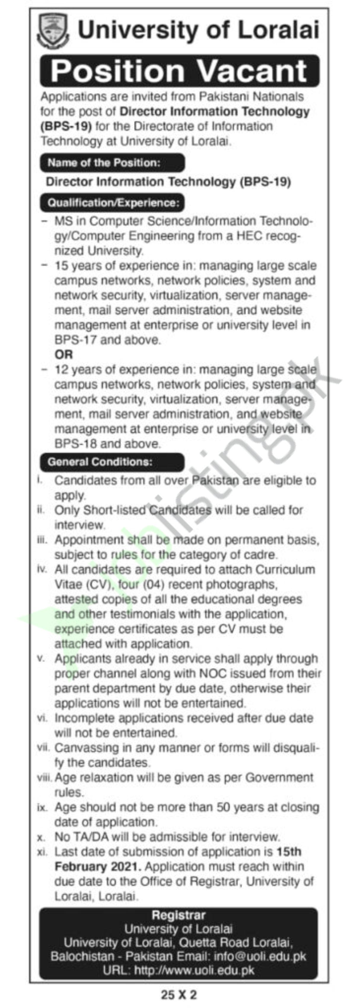 Director Information Technology Jobs 2021 in University of Loralai Balochistan