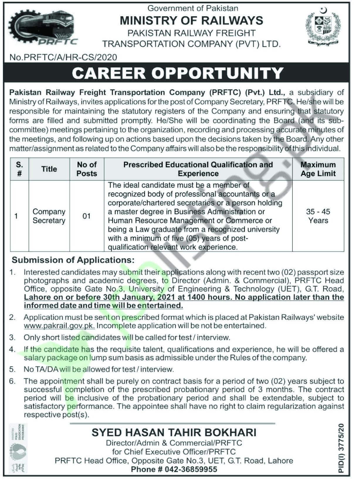 Company secretary jobs in Lahore at Pakistan Railway