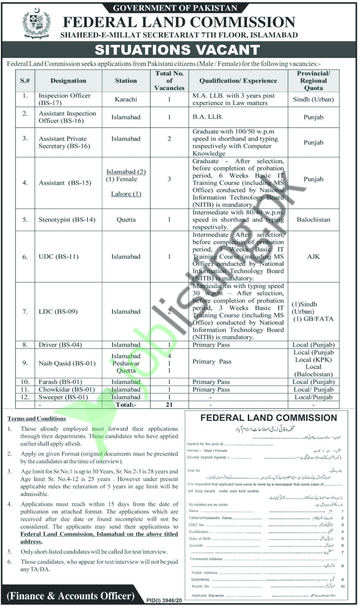 Inspection Officer Jobs in Federal Land Commission Jobs 2021 in Pakistan