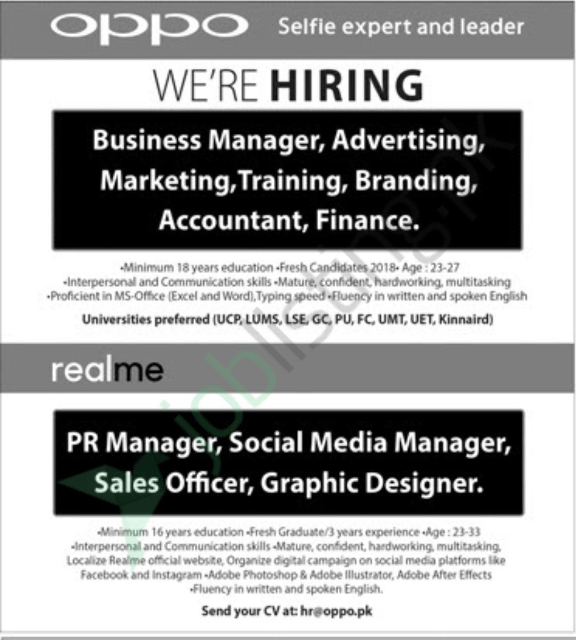 Managers and Sales Officer Jobs in Oppo Islamabad