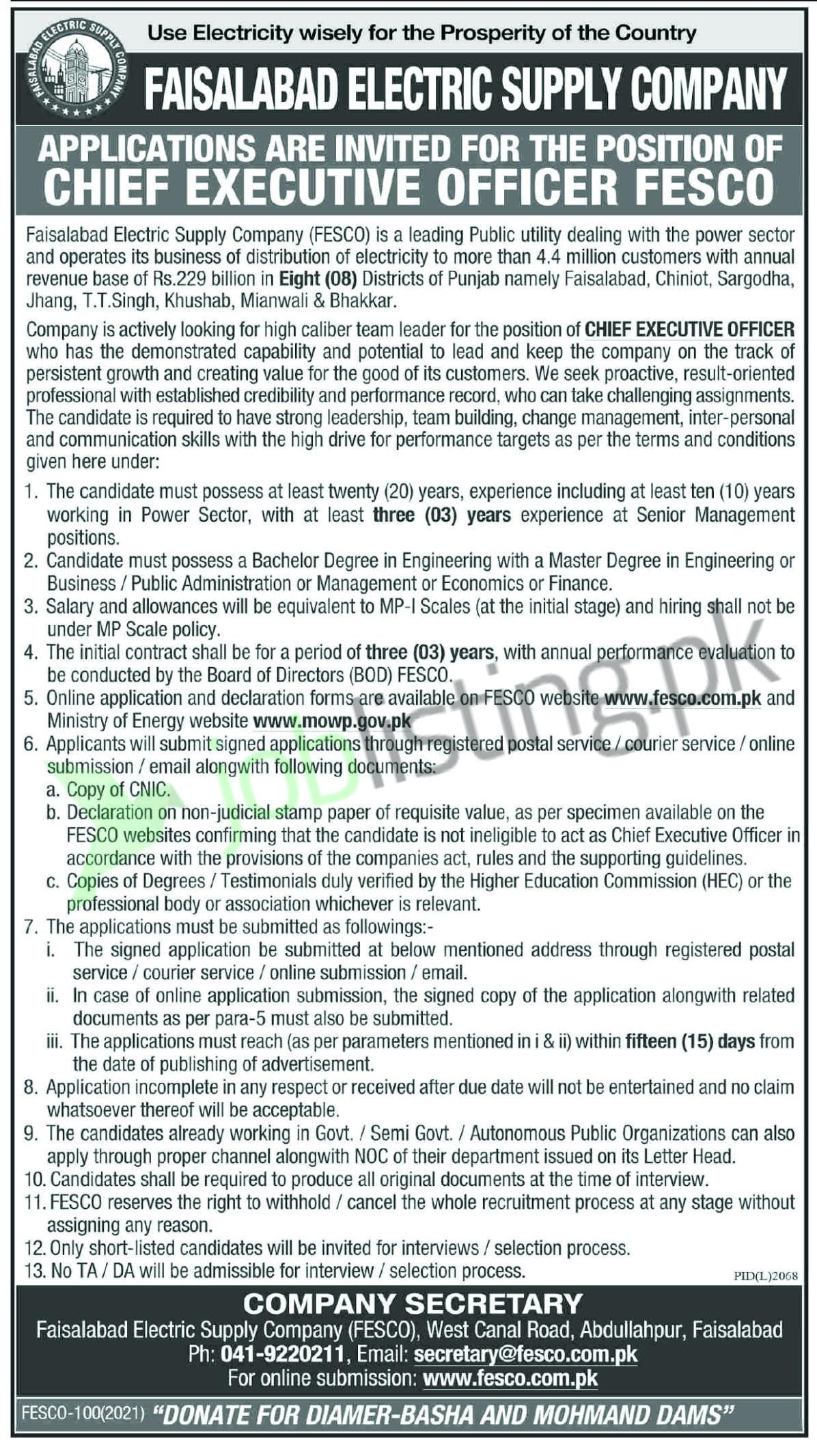 Chief Executive Officer jobs in Faisalabad at FESCO