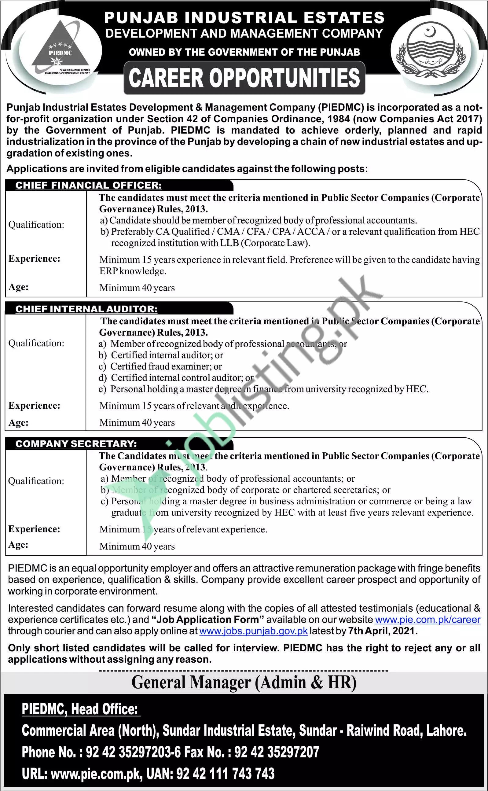 Punjab Industrial Estate Development and Management Company Jobs 2021