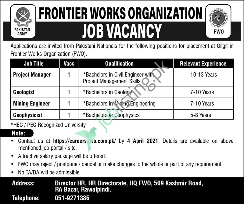 FWO Frontier Works Organization Jobs 2021