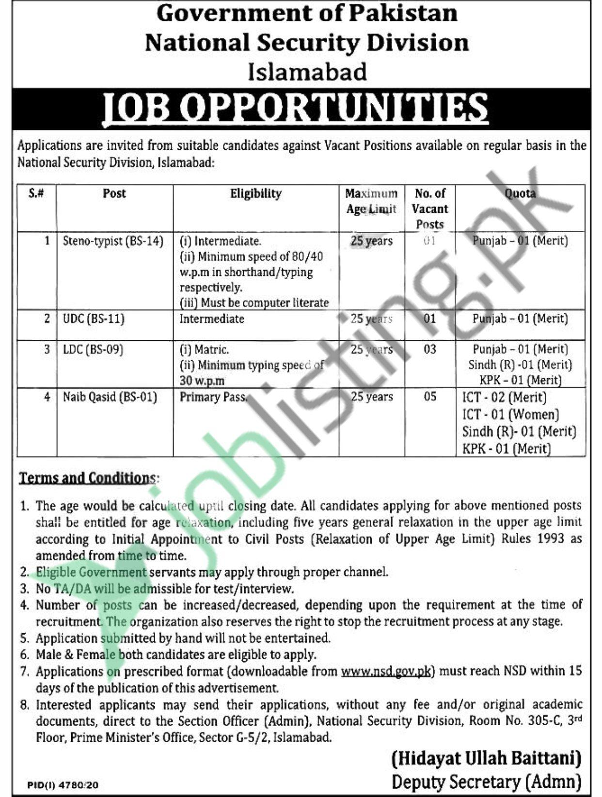 National Security Division NSD Jobs 2021 Islamabad