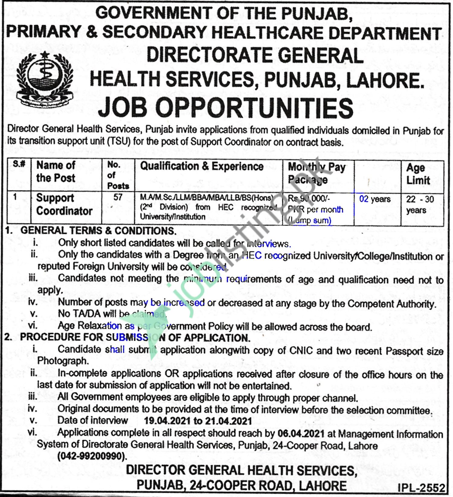 Primary and Secondary Healthcare Department Punjab Jobs 2021