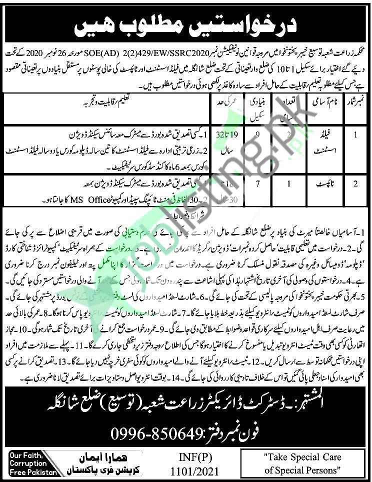 Agriculture Department KPK Jobs 2021