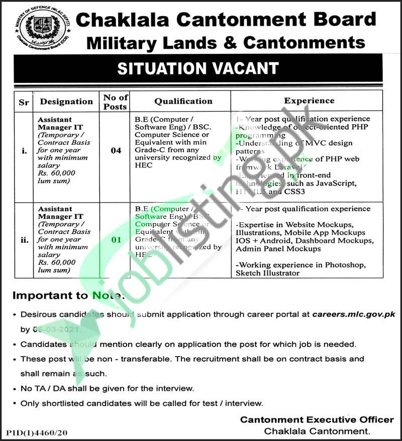Military Lands & Cantonment Department, Ministry of Defence  Jobs 2021