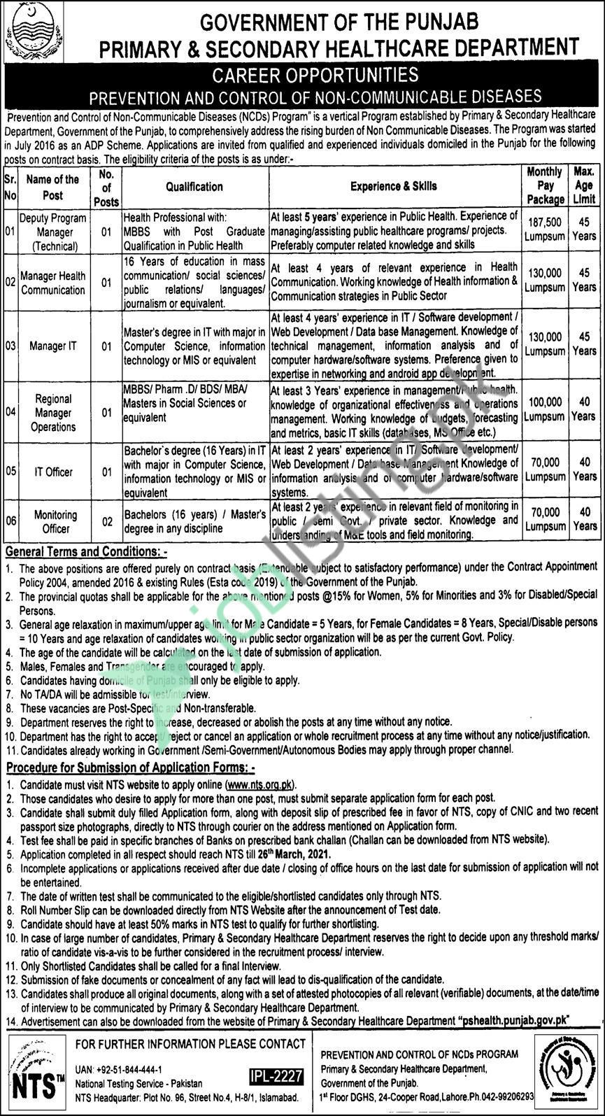 Primary Secondary Healthcare Department Punjab Jobs 2021