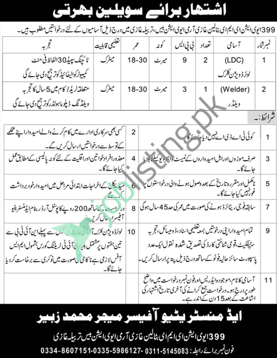 Pak Army 399 Aviation EME Battalion Ghazi Civilian Jobs 2021