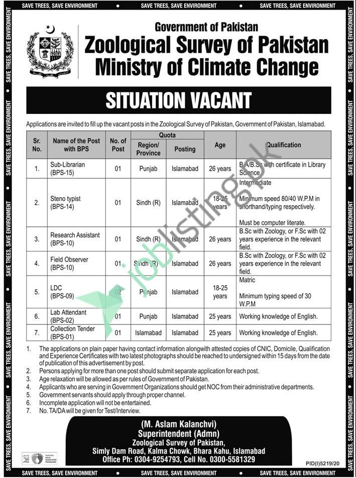 Ministry of Climate Change, Zoological Survey of Pakistan Jobs 2021