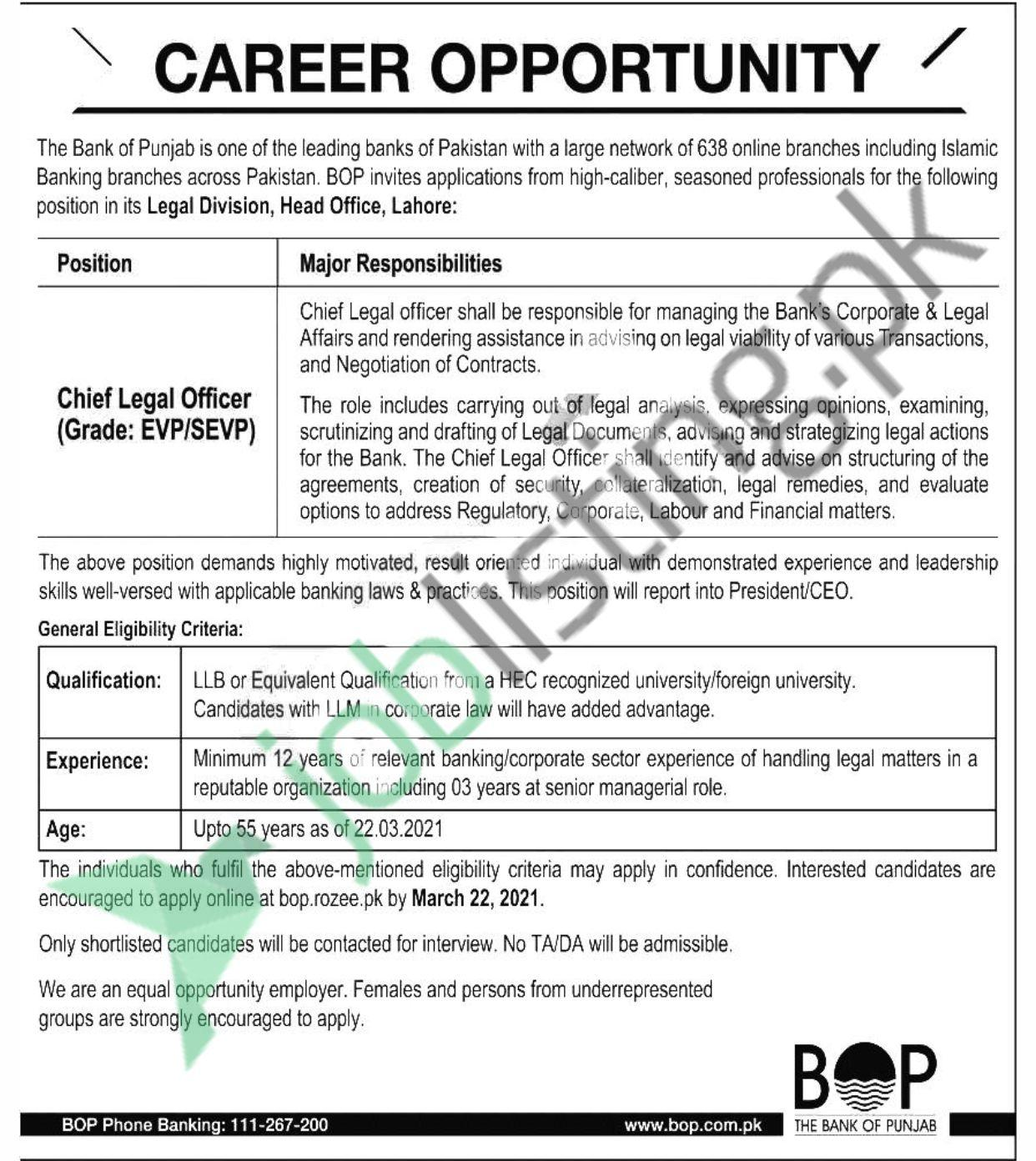 Chief Legal Officer in Bank of Punjab Jobs 2021 at Lahore