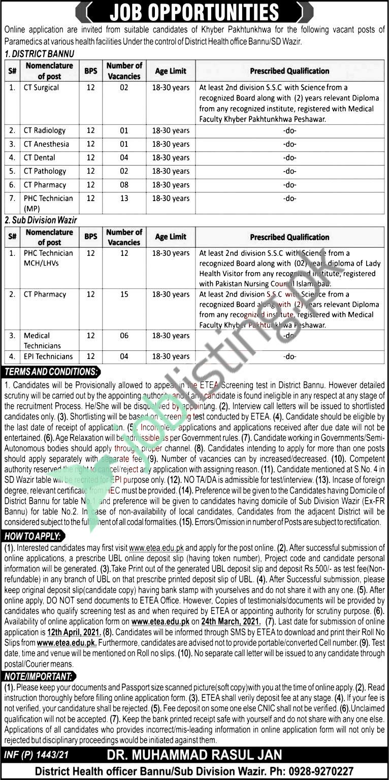 District Health Officer Bannu, Khyber Pakhtunkhwa Jobs 2021
