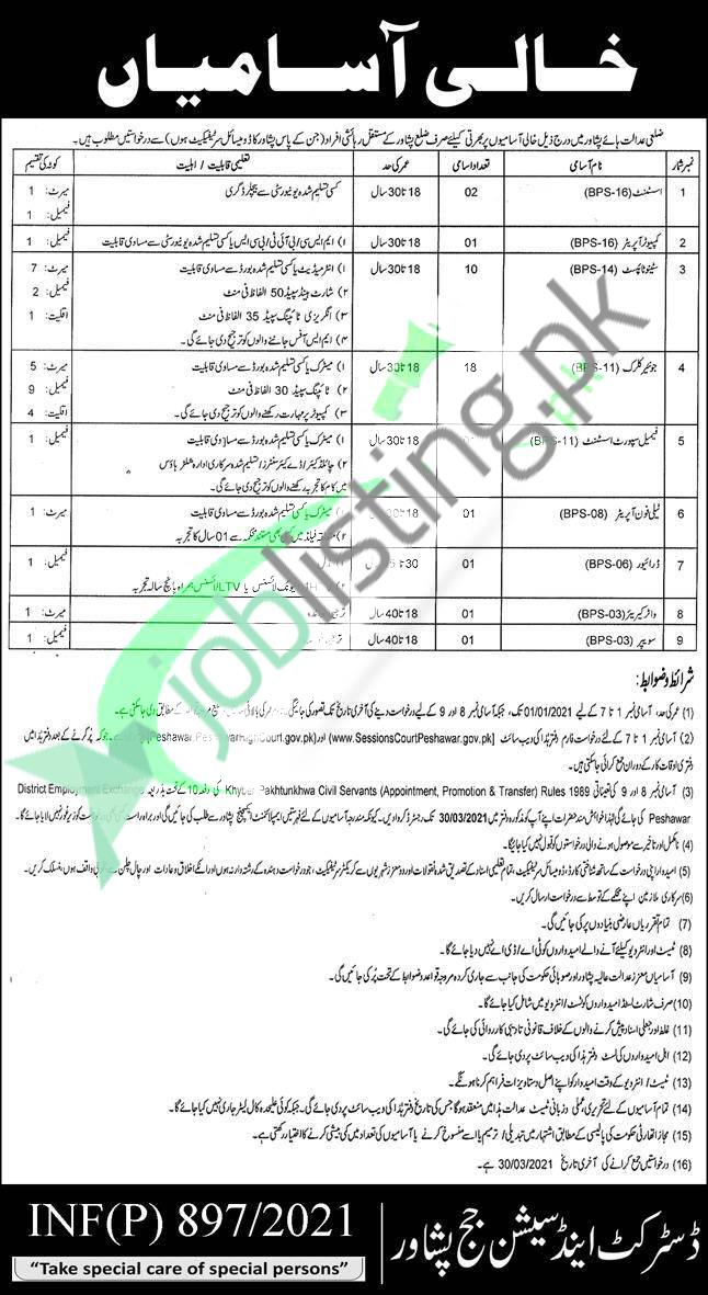 District and Session Court Peshawar Jobs 2021