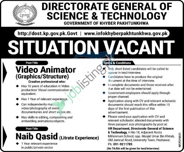 Video Animator Jobs 2021 in Directorate of Science & Technology KPK