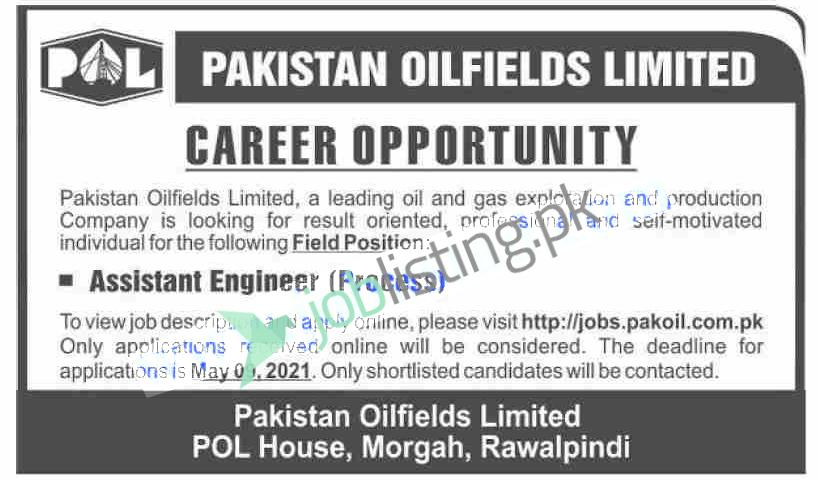 Assistant Engineer Jobs 2021 for POL Pakistan Oilfields Limited
