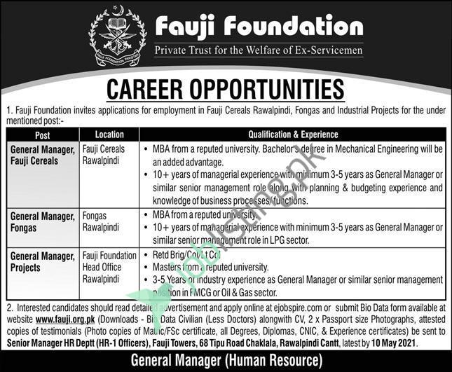 General Manager Jobs 2021 for Fauji Foundation Head Office Rawalpindi