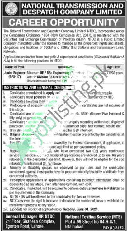 Engineer Jobs 2021 - WAPDA NTDC National Transmission And Despatch Company Limited
