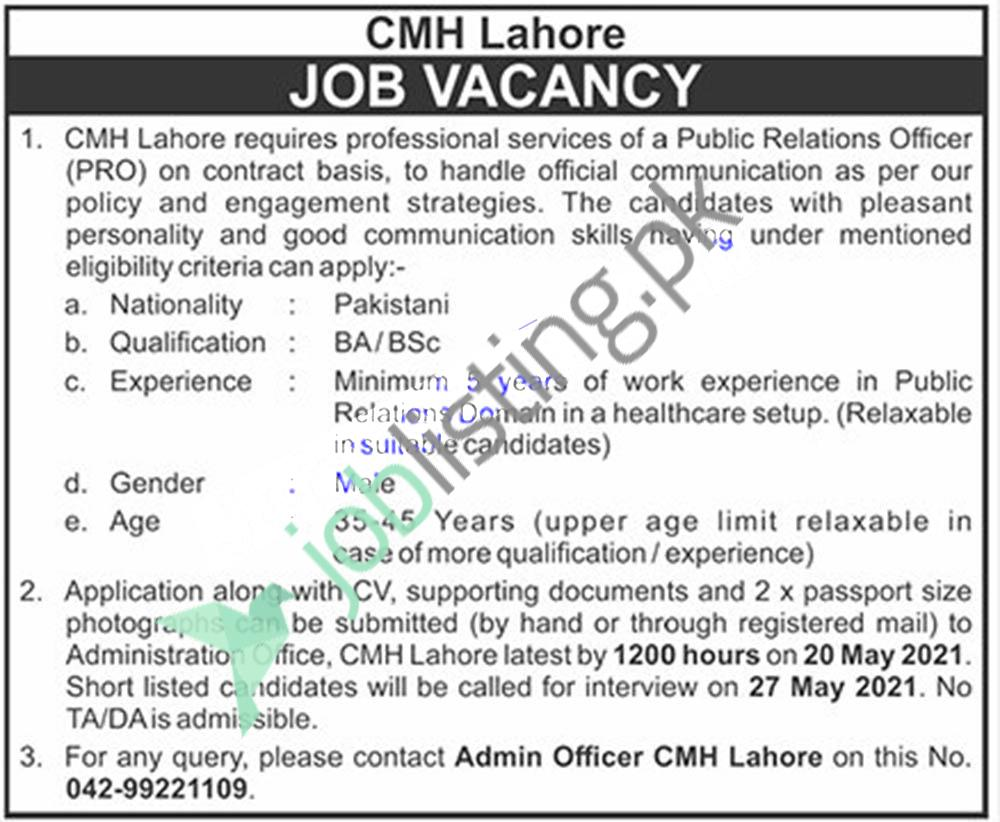 Public Relations Officer (PRO) Jobs 2021 - CMH Combined Military Hospital Lahore