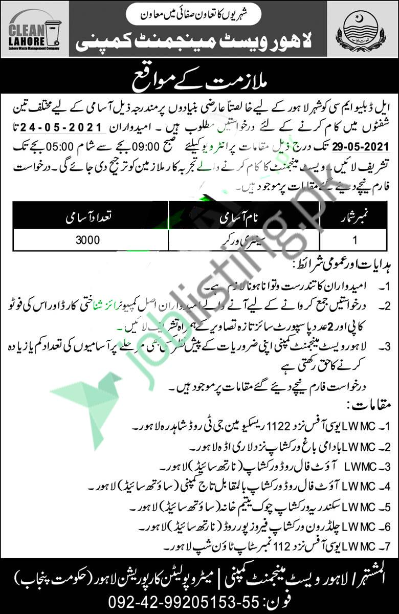 Sanitary Worker Jobs 2021 LWMC Lahore Waste Management Company