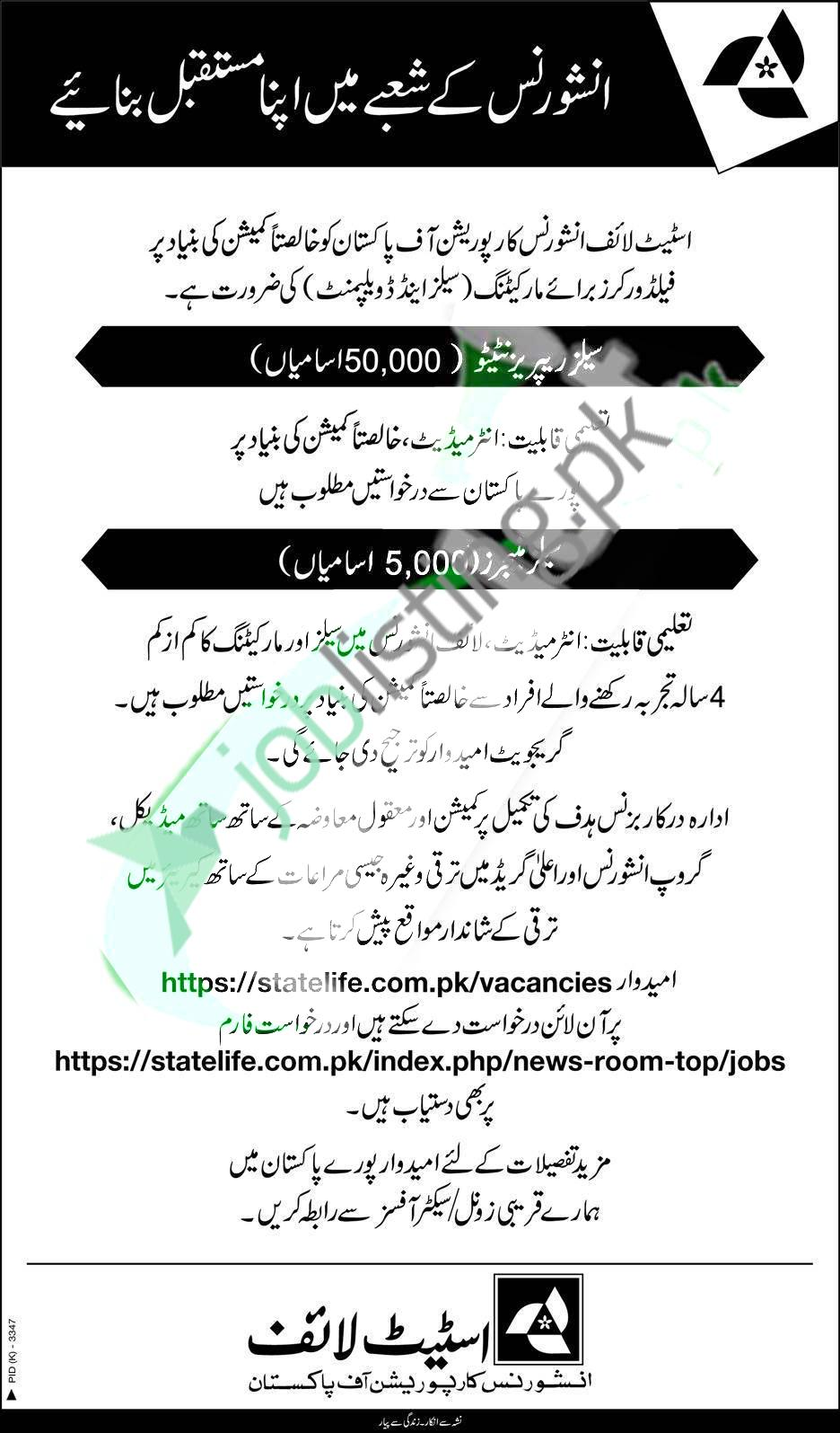 Sales Representatives / Manager Jobs 2021 in State Life Insurance Corporation of Pakistan