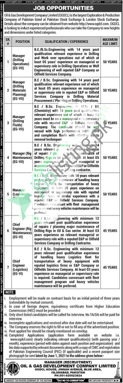 Manager Jobs 2021 - OGDCL Oil & Gas Development Company Ltd