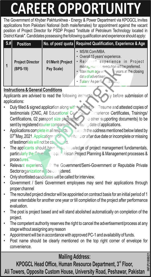 Project Director Jobs 2021 KPOGCL KPK Oil and Gas Company Limited