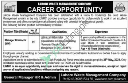 Manager Contracts Jobs 2021 LWMC Lahore Waste Management Company