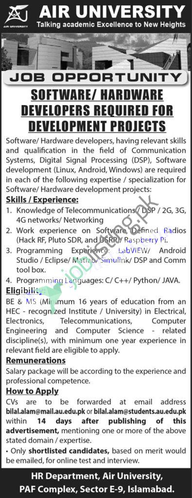 Software / Hardware Developers Jobs 2021 For Non-Faculty Staff in Air University Islamabad