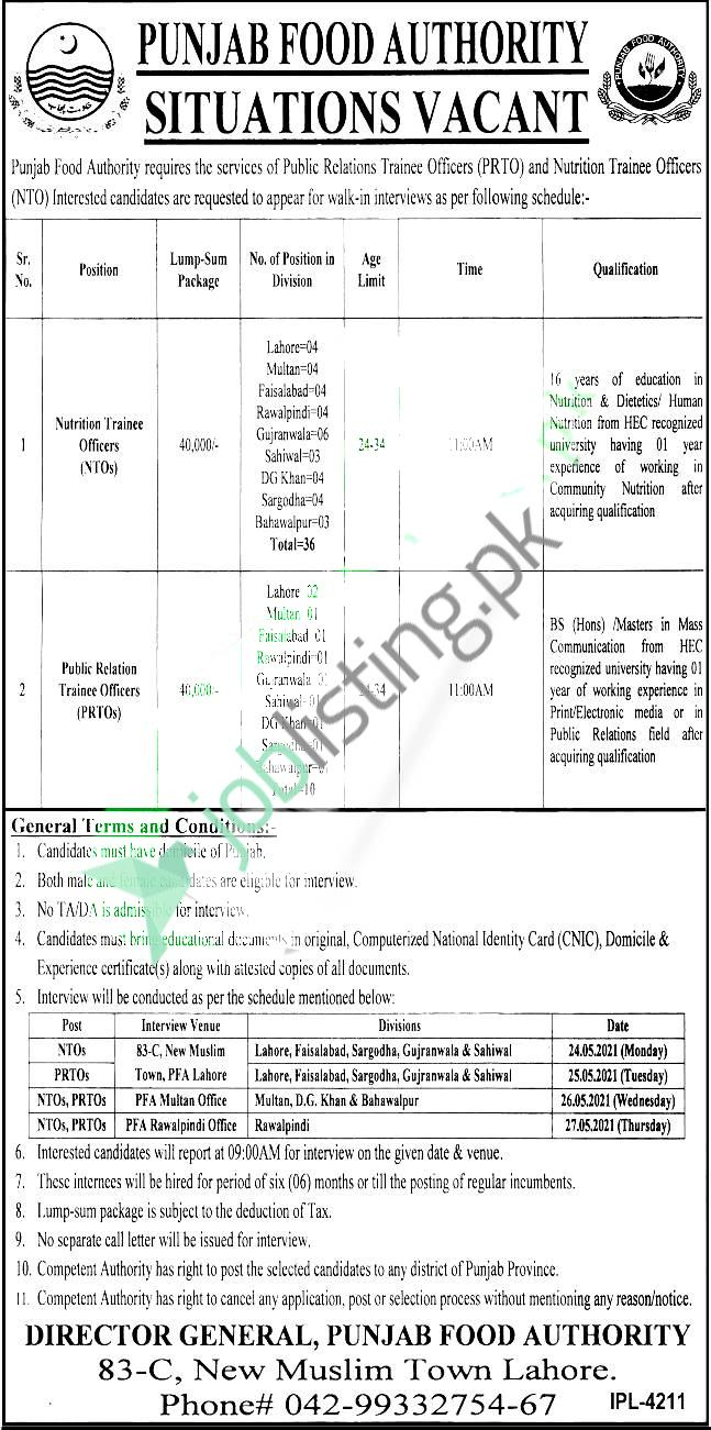 Career Opportunities in PFA Punjab Food Authority Jobs 2021