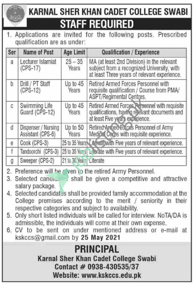Vacant Situations in Karnal Sher Shah Khan Cadet College Swabi Jobs 2021