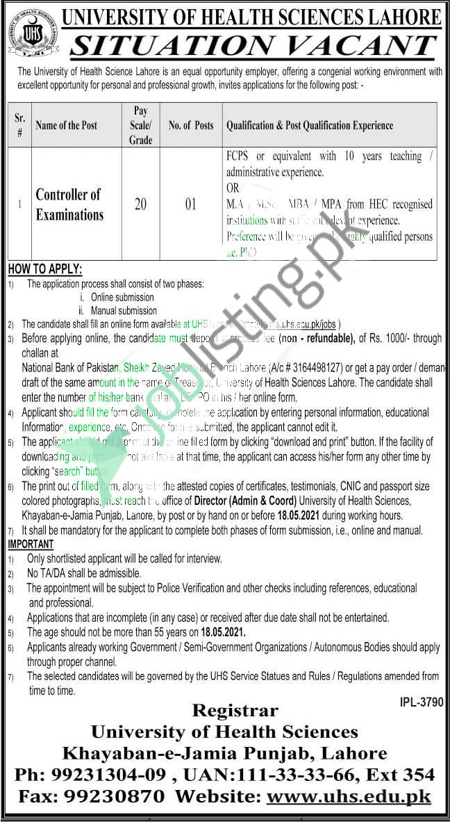 Faculty Staff required for UHS University of Health Sciences Lahore Jobs 2021